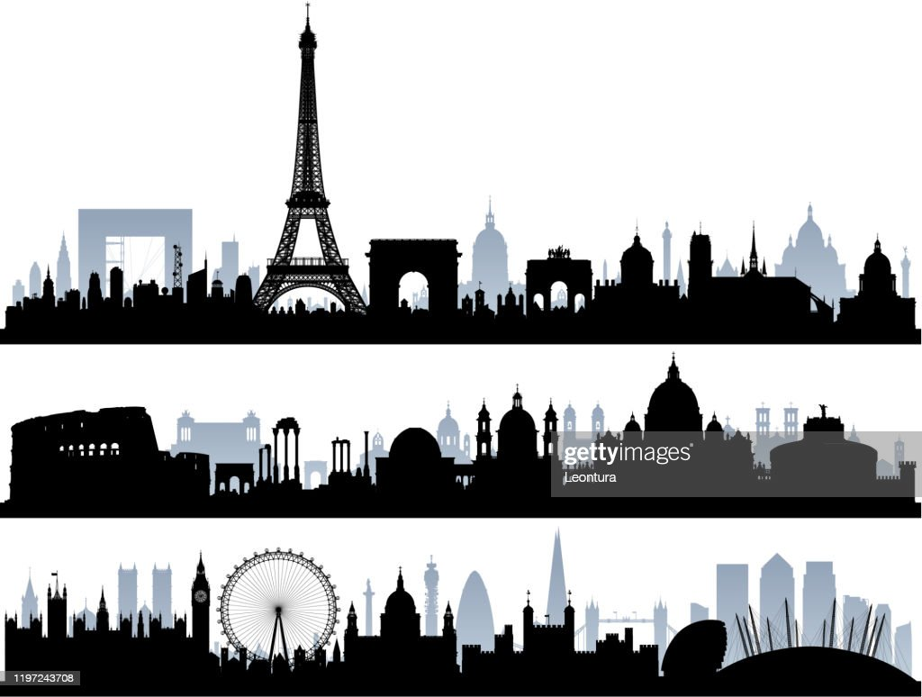 Paris, Rome and London (All Buildings Are Complete and Moveable) : stock illustration