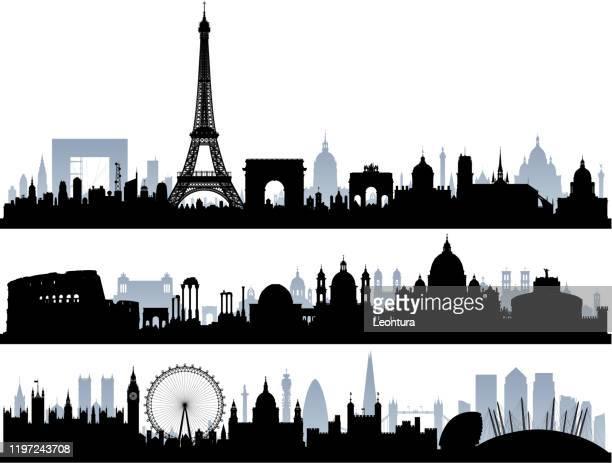 ilustrações de stock, clip art, desenhos animados e ícones de paris, rome and london (all buildings are complete and moveable) - st. peter's basilica the vatican