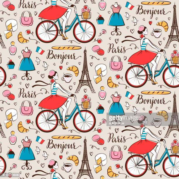 paris seamless pattern - french culture stock illustrations