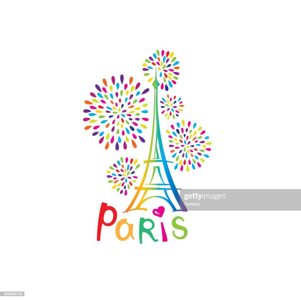 Paris sign. French famous landmark Eiffel tower. Travel France illustrartion
