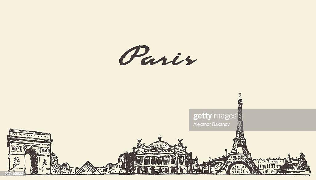 Paris skyline France illustration hand drawn