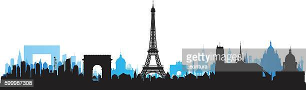 paris skyline (each building is moveable and complete) - francie frane stock illustrations