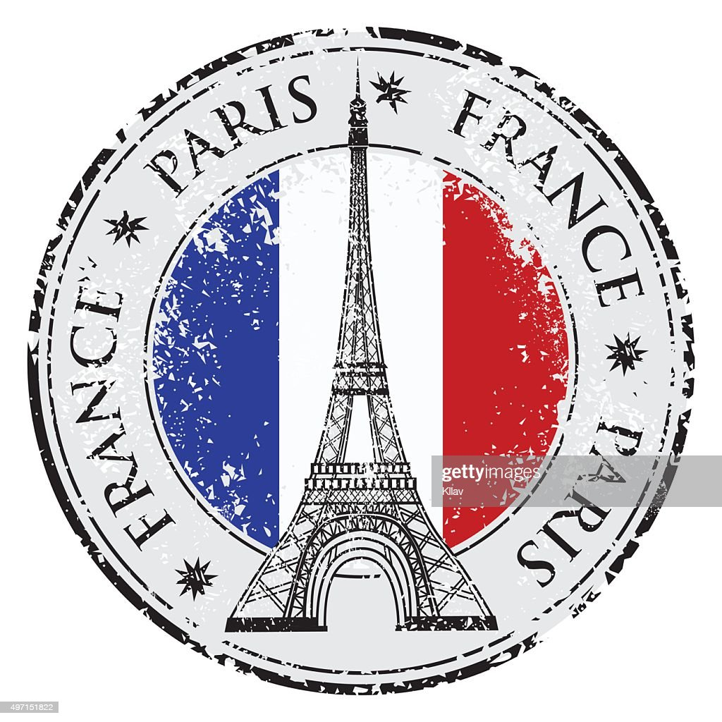 Paris town in France grunge stamp, eiffel tower vector