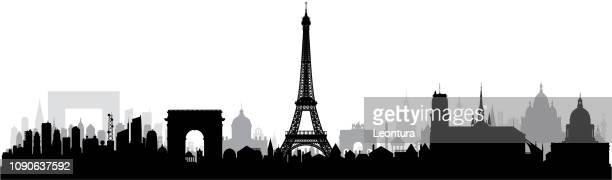 paris (all buildings are complete and moveable) - panoramic stock illustrations