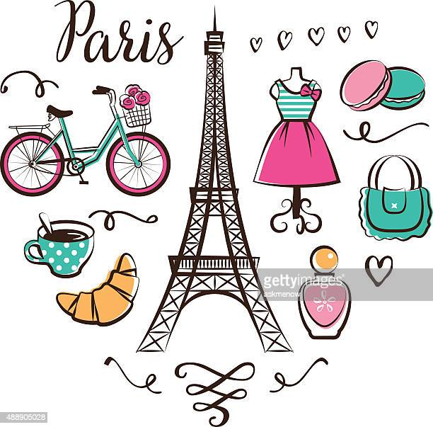 paris - french culture stock illustrations