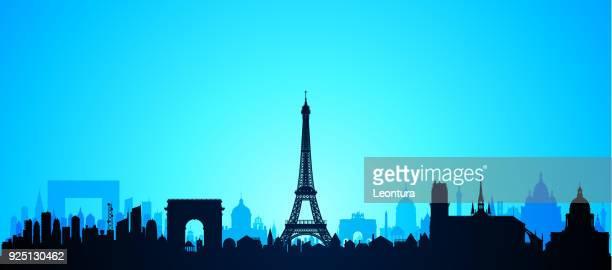 illustrations, cliparts, dessins animés et icônes de paris (tous les bâtiments sont complètes et mobile) - panoramique