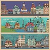 Paris Views Cartoon Illustrations