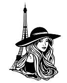 parisian fashion woman black vector portrait