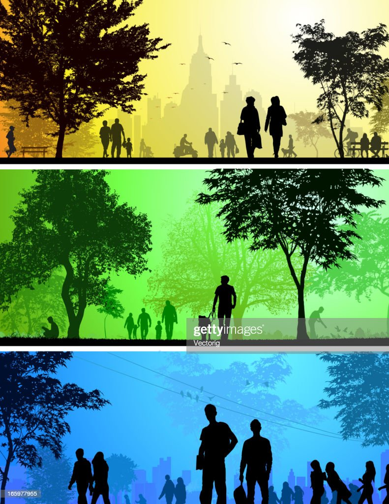 Park and City silhouettes : Stock Illustration