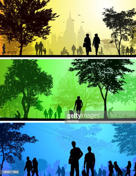 park and city silhouettes - recreational pursuit stock illustrations, clip art, cartoons, & icons