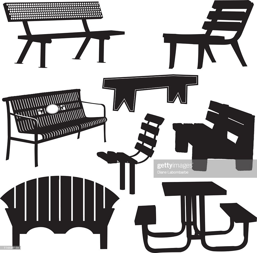 Park and Garden Benches With a Picnic Table Silhouette Collection