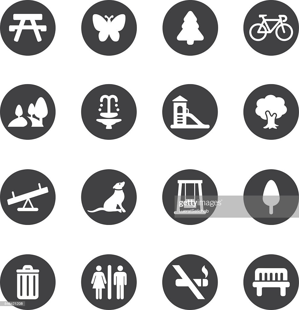 Park and Outdoor Circle Silhouette icons | EPS10