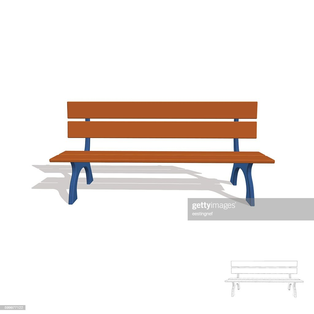 Park bench. 3d Vector illustration.Front view.
