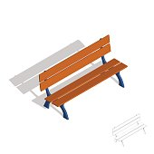 Park bench. 3d Vector illustration.Isometric style.