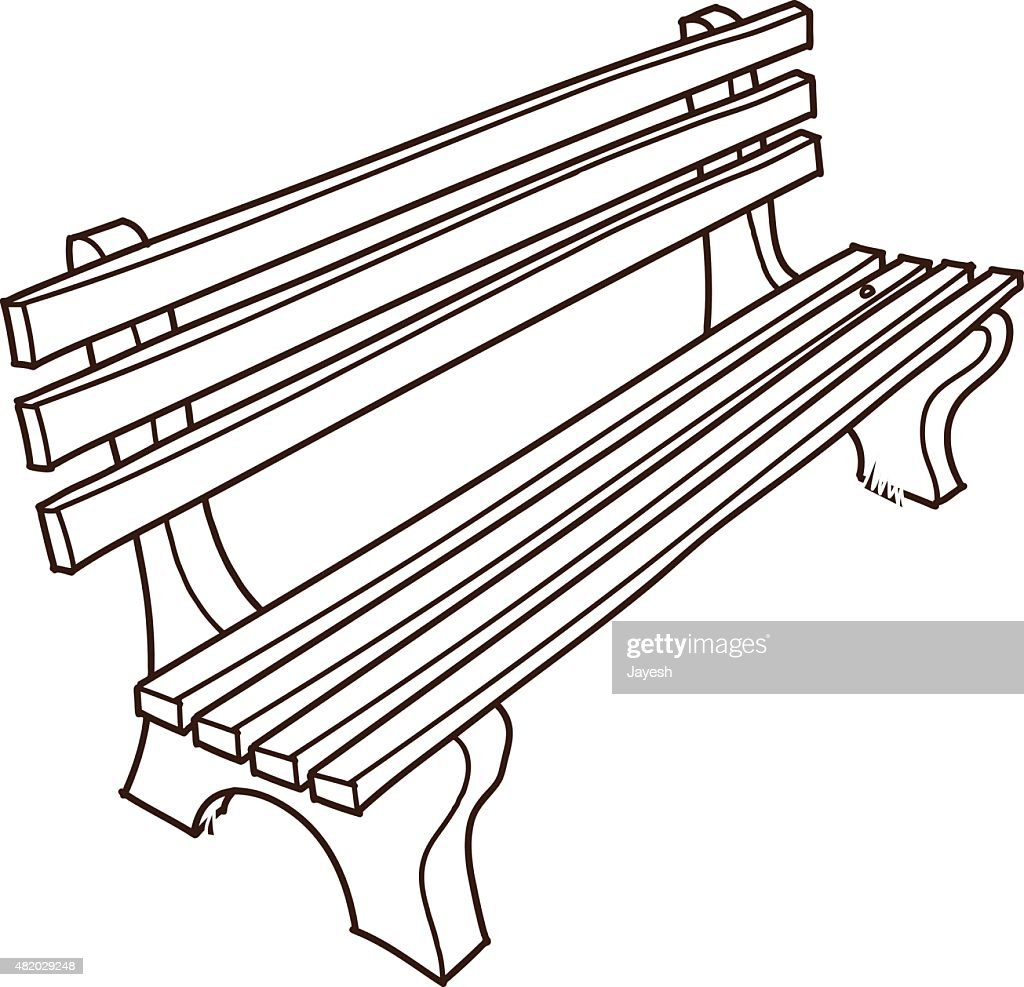 park bench drawing vector art getty images