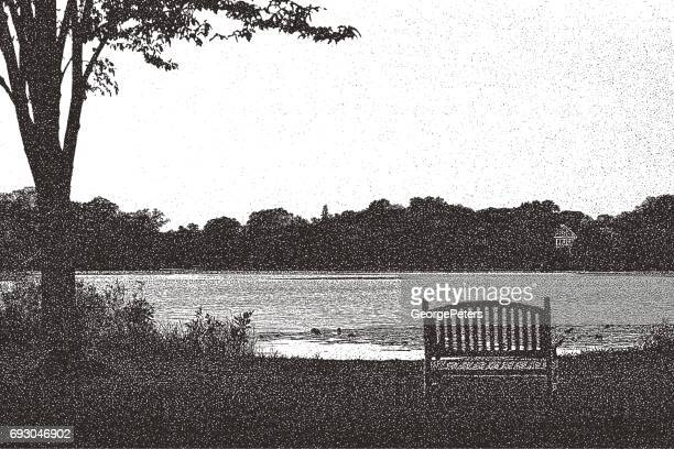 park bench, lake and waters edge at summer. minneapolis, minnesota - stipple effect stock illustrations