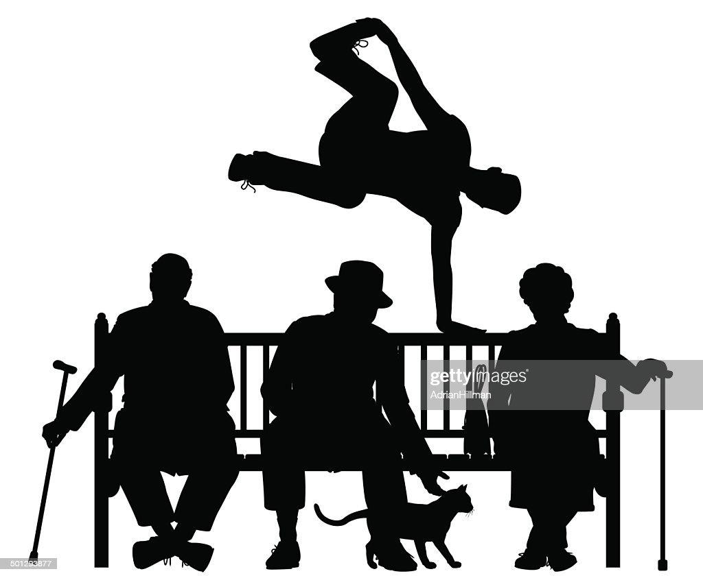 Park bench parkour
