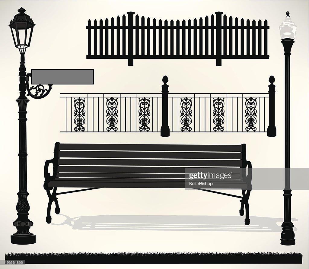 Park Bench Setting - Street Sign, Light, Fence : stock illustration