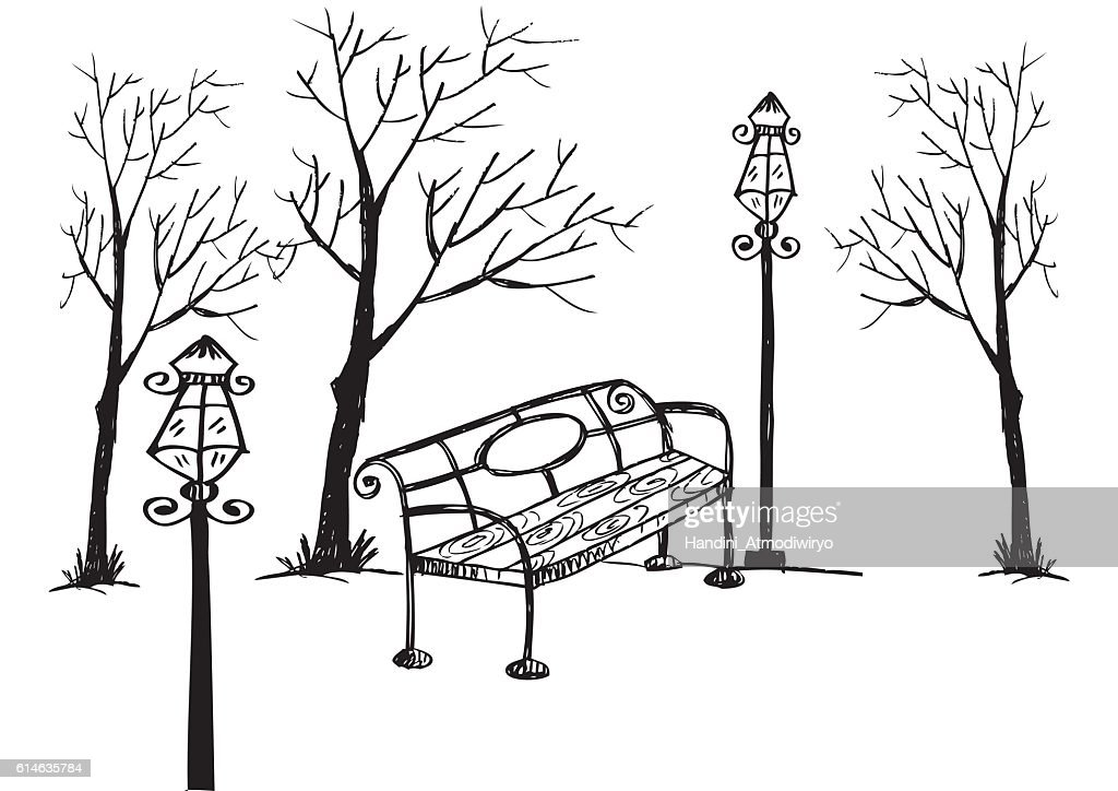 Park bench,lamp and trees. Hand drawing illustration.