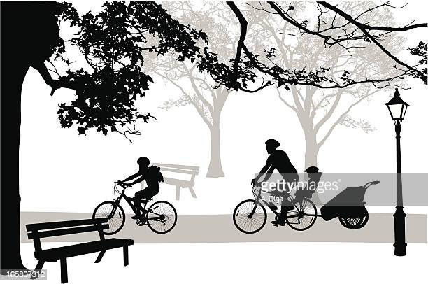 ilustrações de stock, clip art, desenhos animados e ícones de parkcycling - family cycling