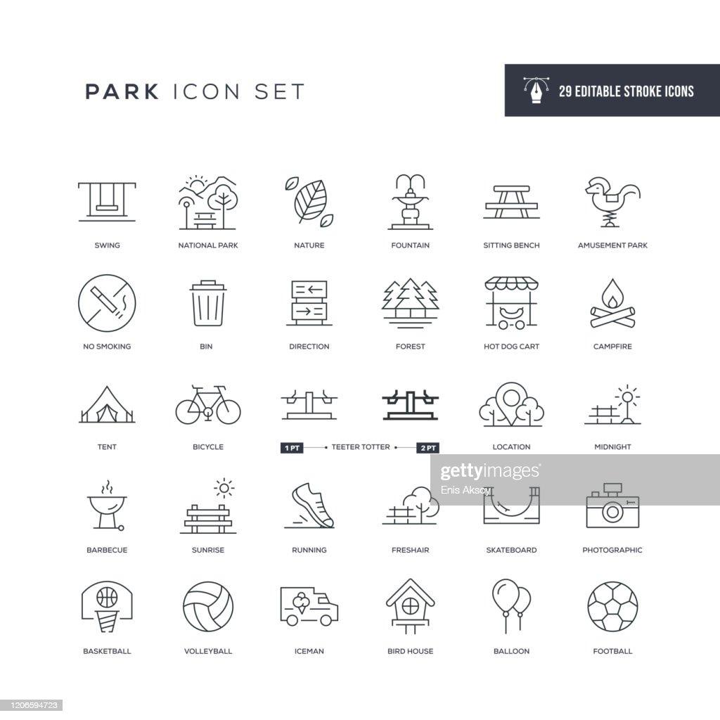 Icone della linea del tratto modificabile del parco : Illustrazione stock