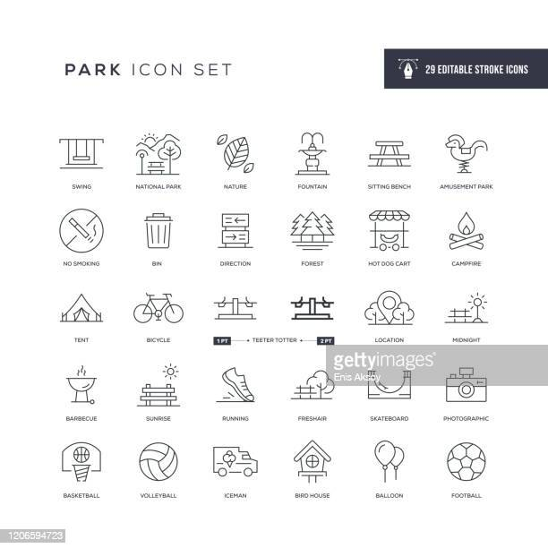 park editable stroke line icons - leisure activity stock illustrations
