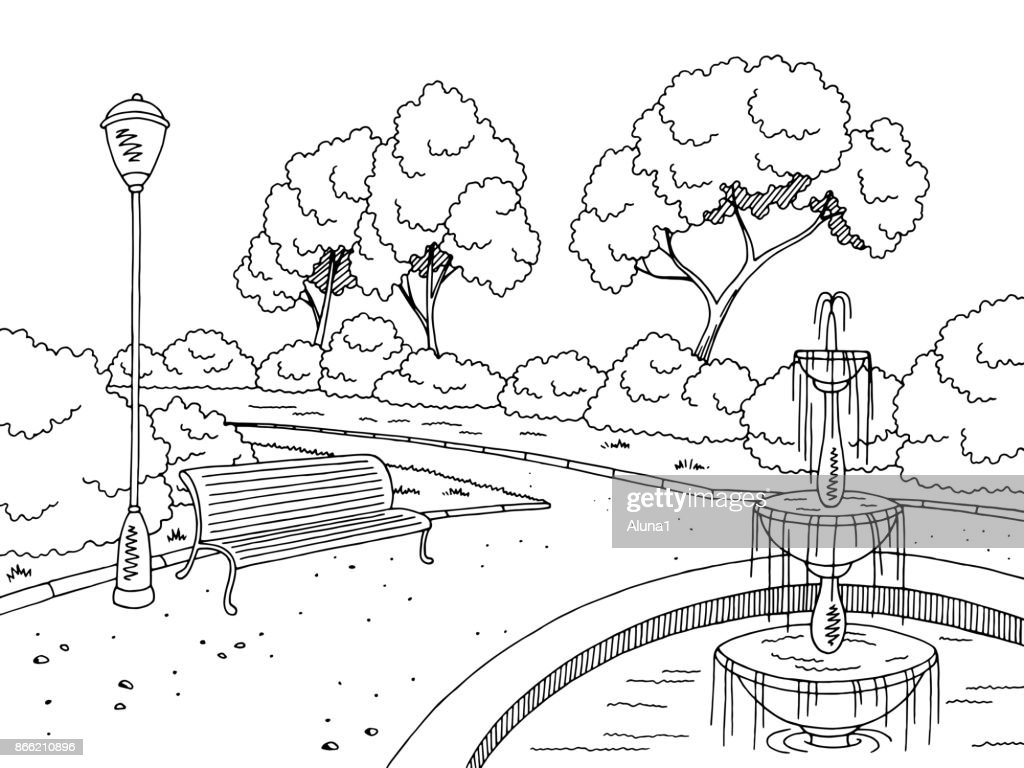 Park fountain graphic black white landscape sketch illustration vector