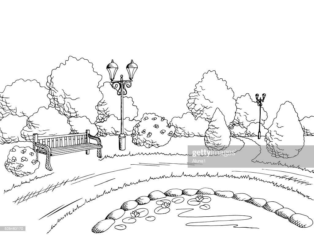 Park graphic art black white landscape illustration vector
