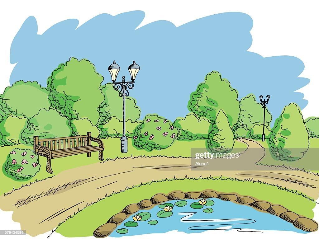 Park graphic art color landscape sketch illustration vector