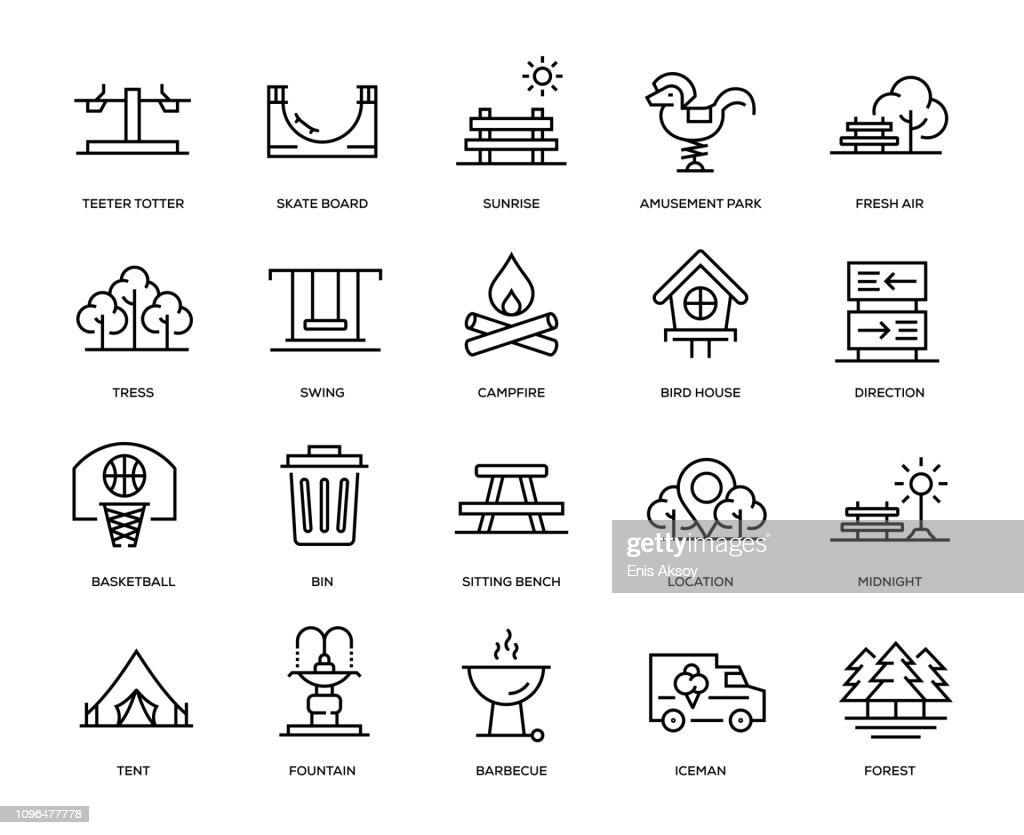 Park Icon Set : stock illustration