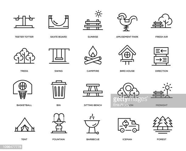 park icon set - public park stock illustrations