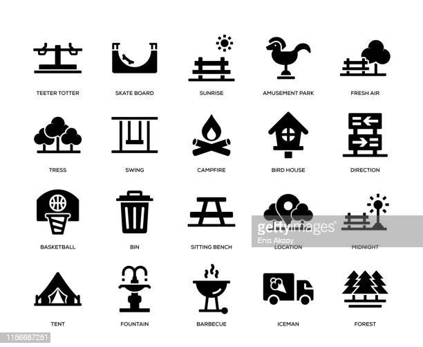 park icon set - natural parkland stock illustrations