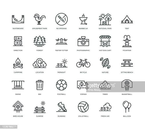 park icon set - leisure activity stock illustrations
