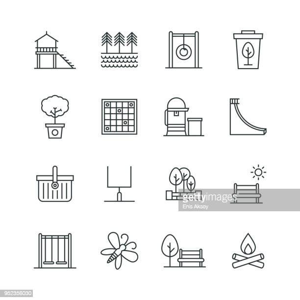 park icon set - bench stock illustrations
