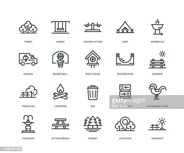 ilustraciones, imágenes clip art, dibujos animados e iconos de stock de iconos - línea serie del parque - banco del parque