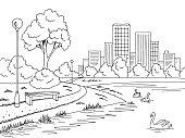 Park lake graphic black white landscape sketch illustration vector