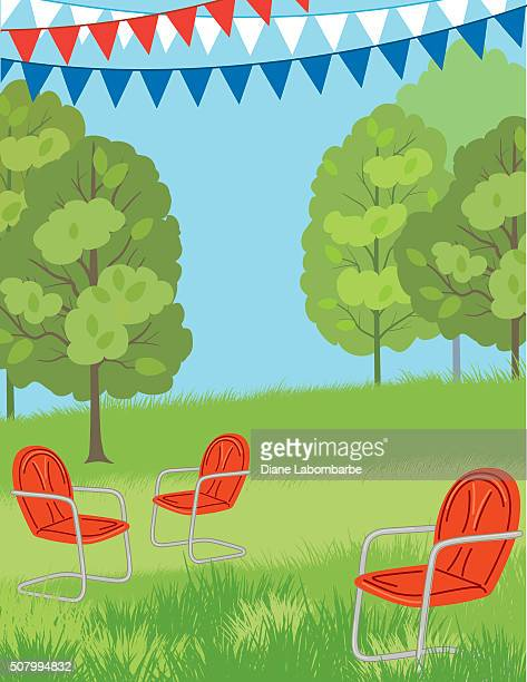 Park or Lawn with retro Chairs and Bunting Flags