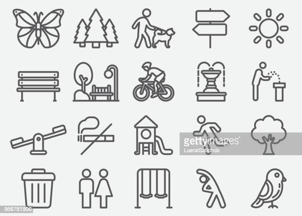 park outdoor line icons - tree stock illustrations, clip art, cartoons, & icons