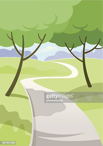 park path - natural parkland stock illustrations, clip art, cartoons, & icons