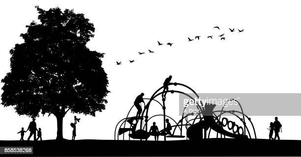 park playground fun - deciduous tree stock illustrations, clip art, cartoons, & icons