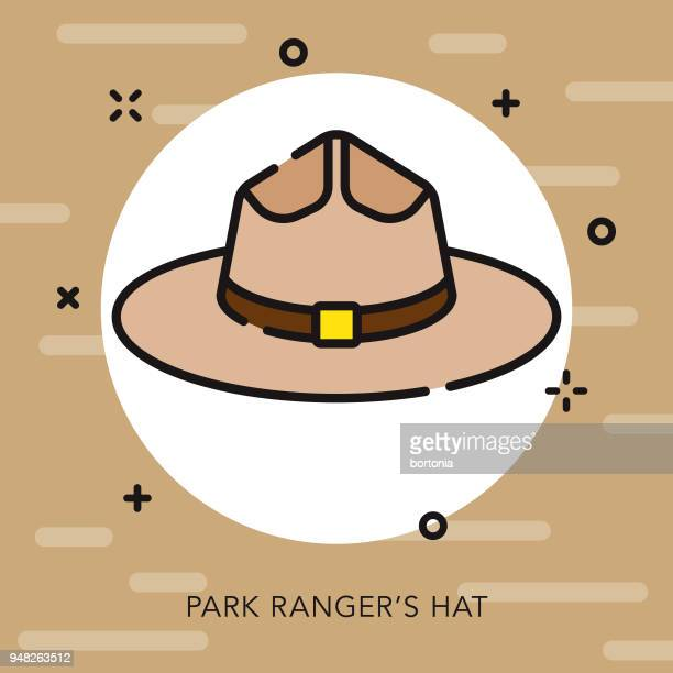 park ranger's hat open outline canadian icon - hat stock illustrations