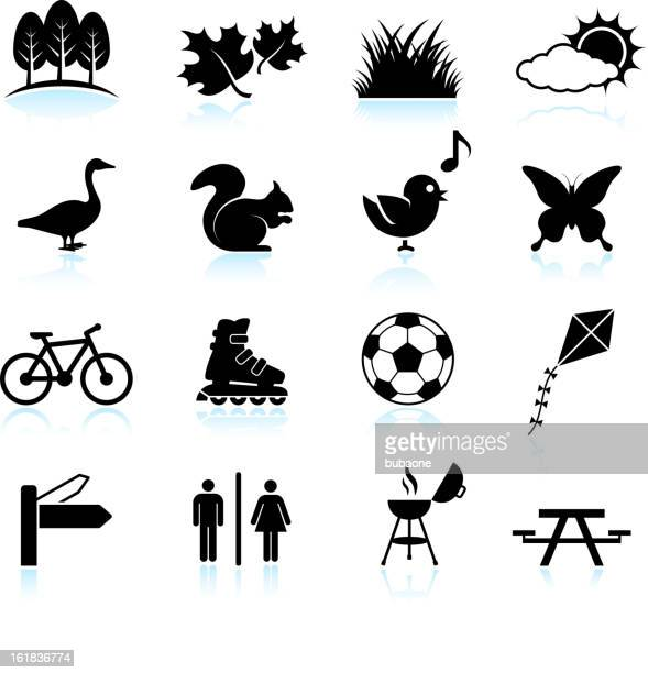Park, Recreation and Wildlife black & white vector icon set