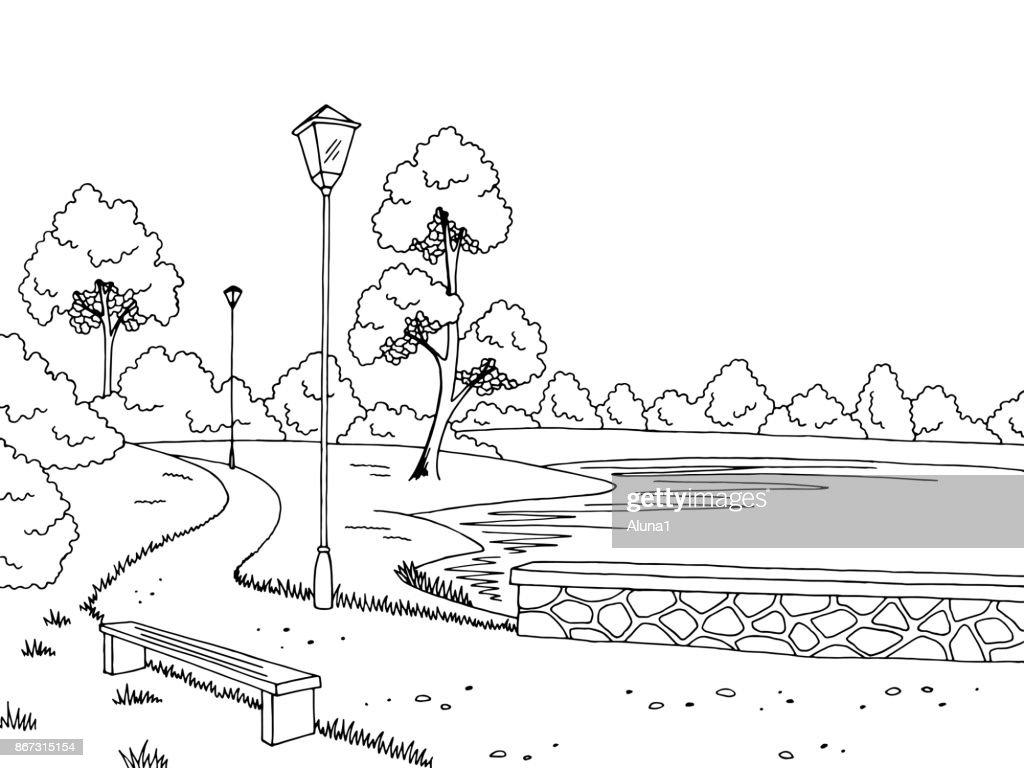 Park river graphic black white landscape sketch illustration vector