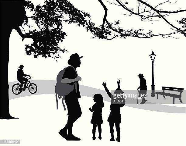 park scene vector silhouette - family cycling stock illustrations, clip art, cartoons, & icons