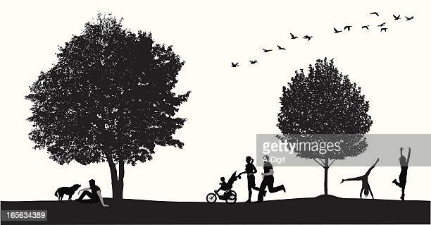 park scene vector silhouette - three wheeled pushchair stock illustrations, clip art, cartoons, & icons
