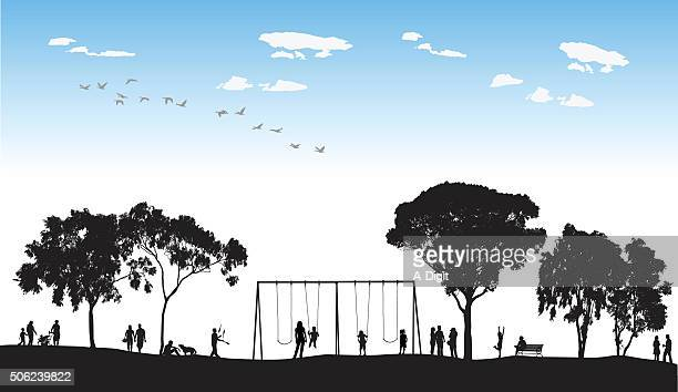 Park Swings In Silhouette