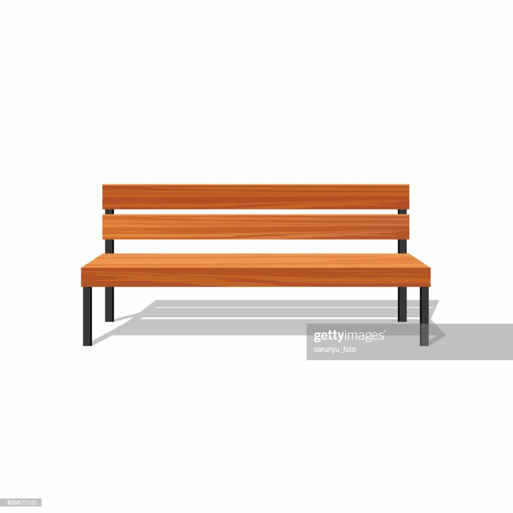 Park wood benches and steel
