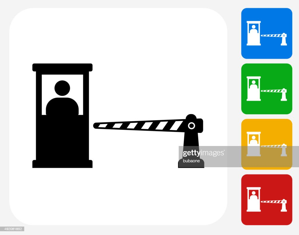 Parking Booth and Cashier Icon Flat Graphic Design