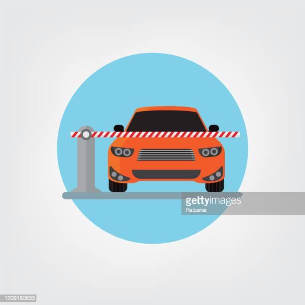 parking car barrier - entrance stock illustrations