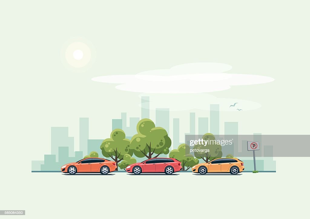 Parking Cars and City Background with Green Trees